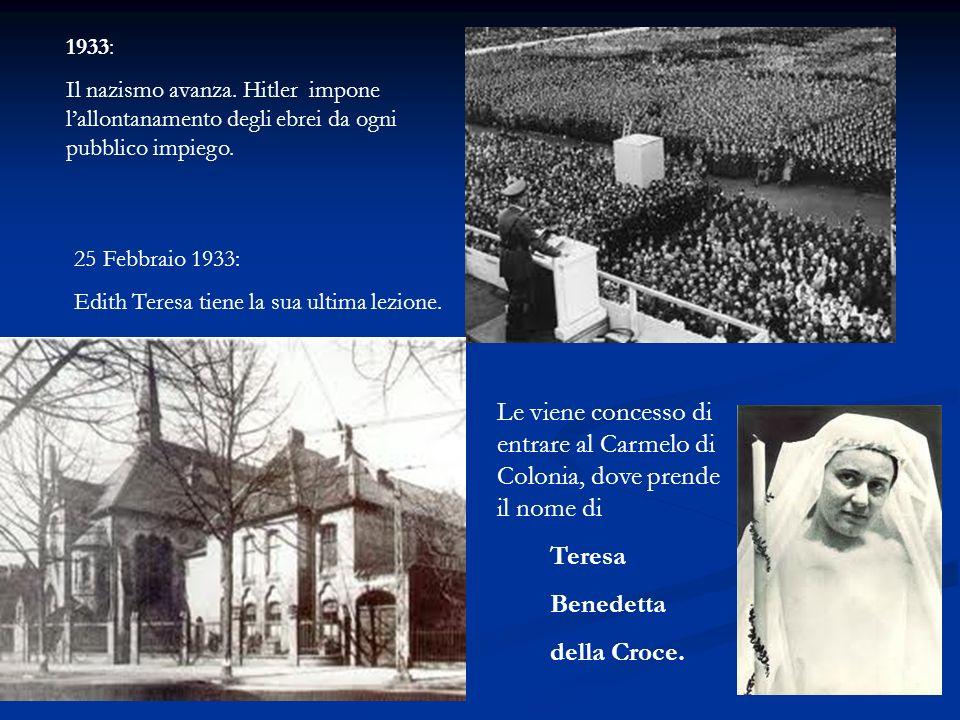 1933: Il nazismo avanza. Hitler impone l'allontanamento degli ebrei da ogni pubblico impiego. 25 Febbraio 1933: