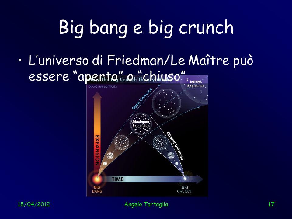 Big bang e big crunchL'universo di Friedman/Le Maître può essere aperto o chiuso . 18/04/2012. Angelo Tartaglia.