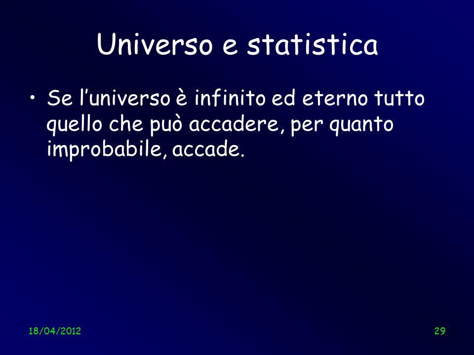 Universo e statistica Se l'universo è infinito ed eterno tutto quello che può accadere, per quanto improbabile, accade.