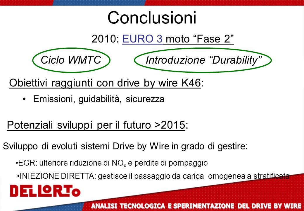 Conclusioni 2010: EURO 3 moto Fase 2 Ciclo WMTC