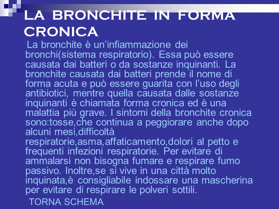 LA BRONCHITE IN FORMA CRONICA