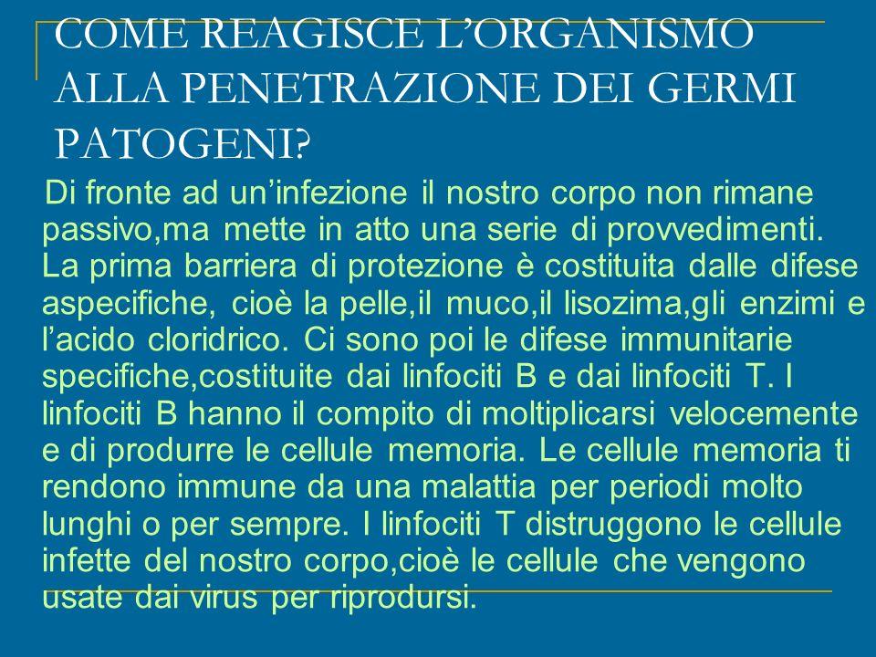 COME REAGISCE L'ORGANISMO ALLA PENETRAZIONE DEI GERMI PATOGENI