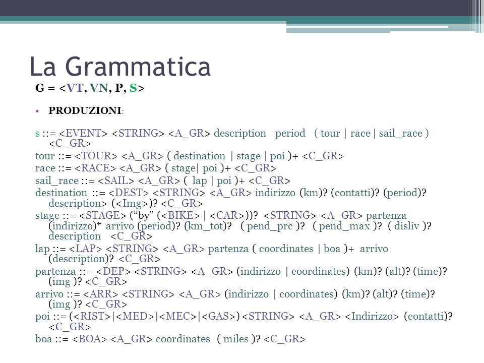La Grammatica G = <VT, VN, P, S>