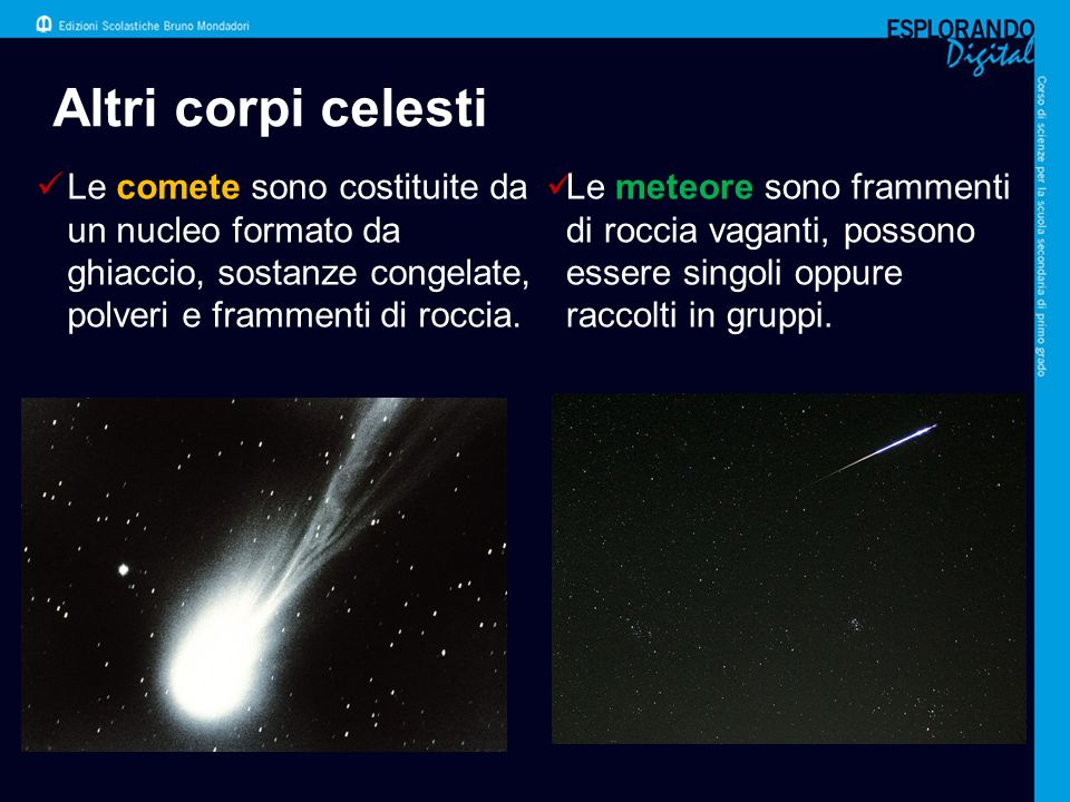 Altri corpi celesti Le comete sono costituite da un nucleo formato da ghiaccio, sostanze congelate, polveri e frammenti di roccia.