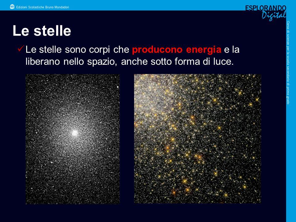 Le stelle Le stelle sono corpi che producono energia e la liberano nello spazio, anche sotto forma di luce.