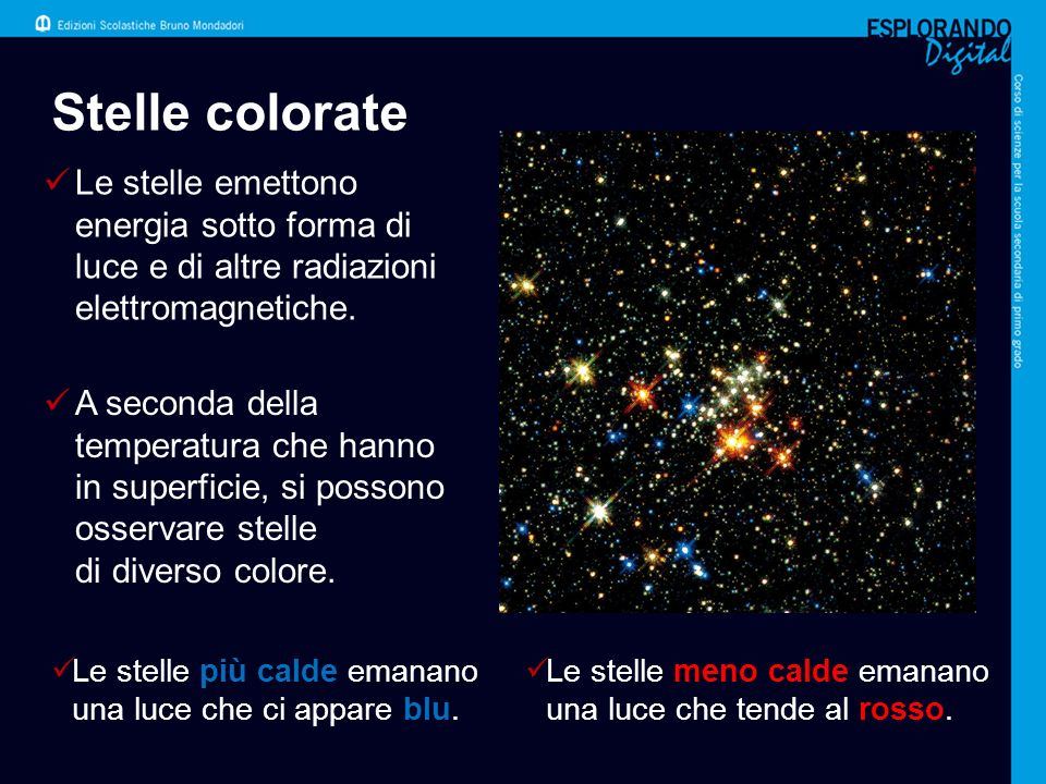 Stelle colorate Le stelle emettono energia sotto forma di luce e di altre radiazioni elettromagnetiche.
