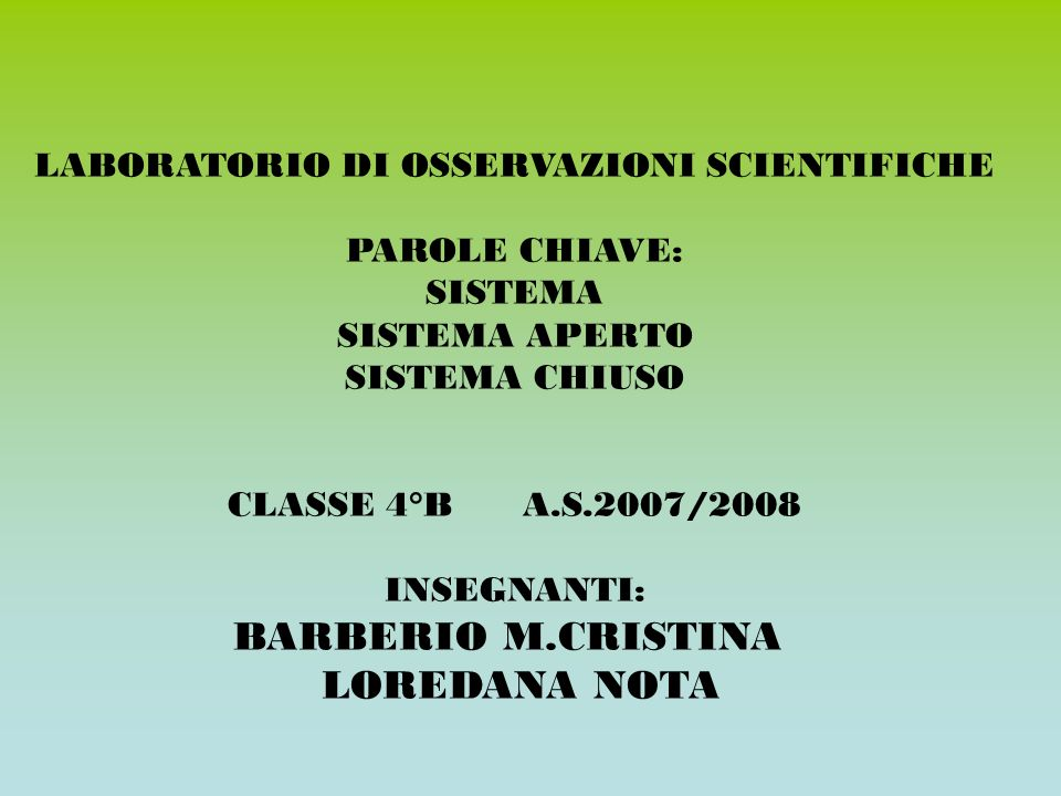 LABORATORIO DI OSSERVAZIONI SCIENTIFICHE