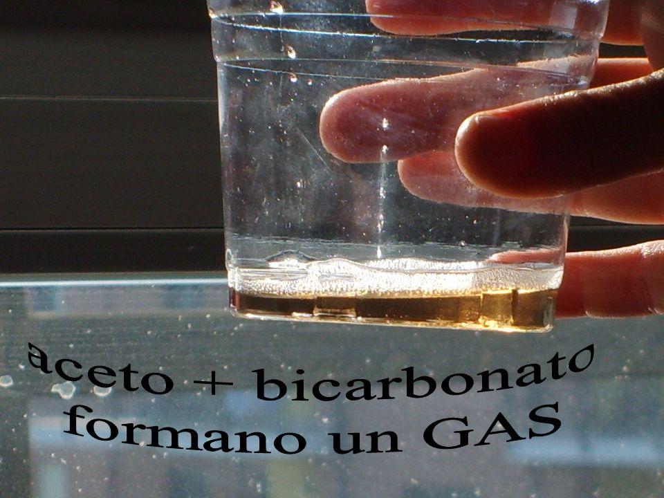 aceto + bicarbonato formano un GAS