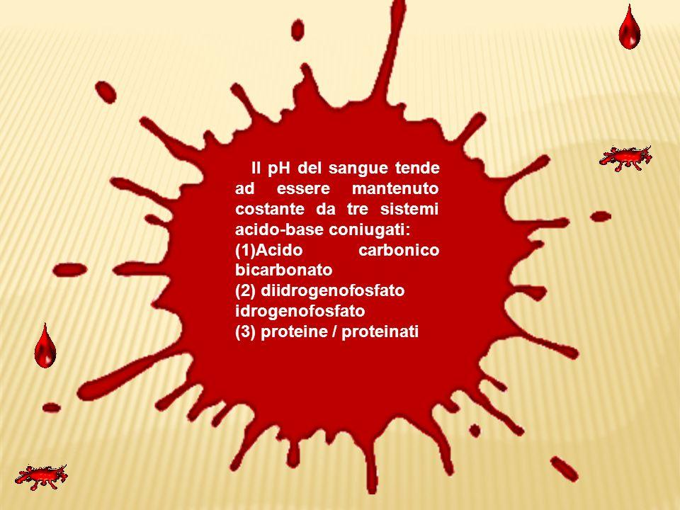 Il pH del sangue tende ad essere mantenuto costante da tre sistemi acido-base coniugati: