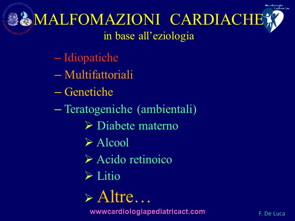 MALFOMAZIONI CARDIACHE in base all'eziologia