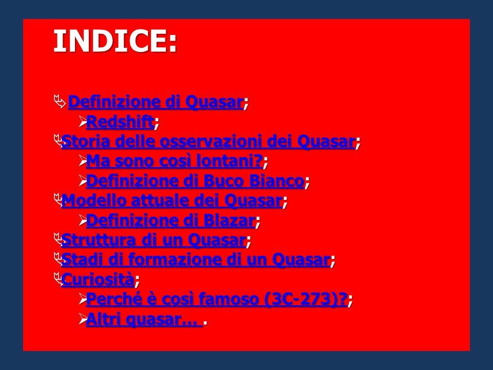 INDICE: Definizione di Quasar; Redshift;
