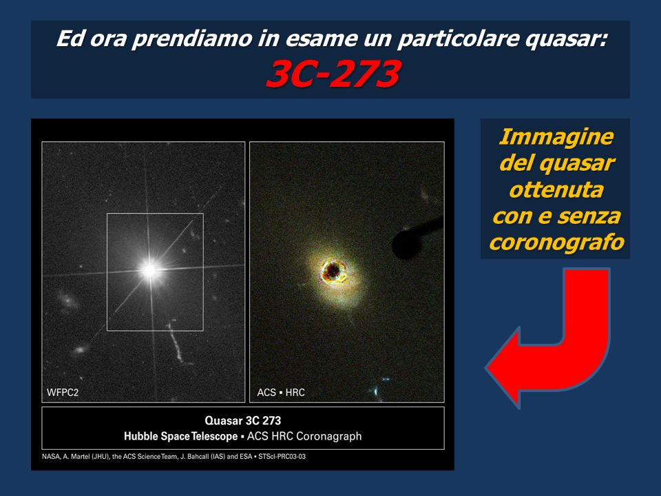 Ed ora prendiamo in esame un particolare quasar: 3C-273