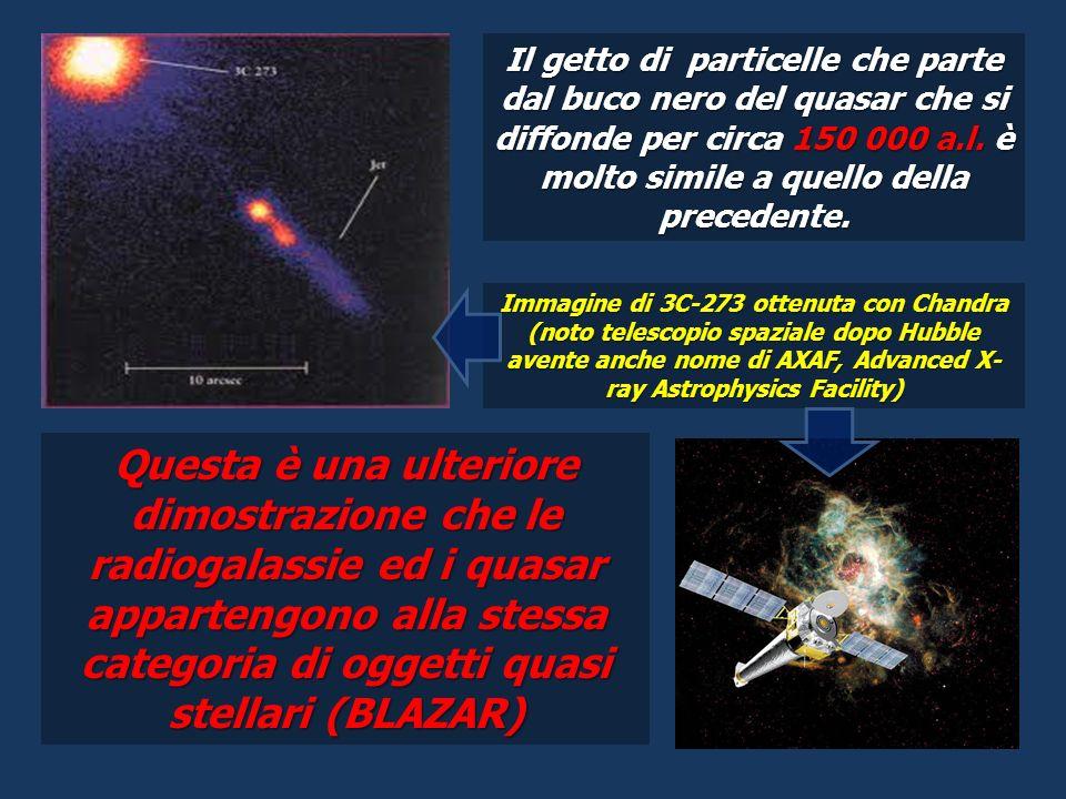 Il getto di particelle che parte dal buco nero del quasar che si diffonde per circa 150 000 a.l. è molto simile a quello della precedente.