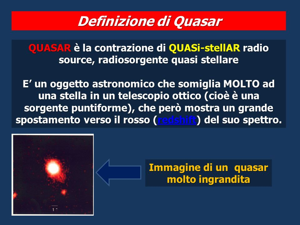 Immagine di un quasar molto ingrandita