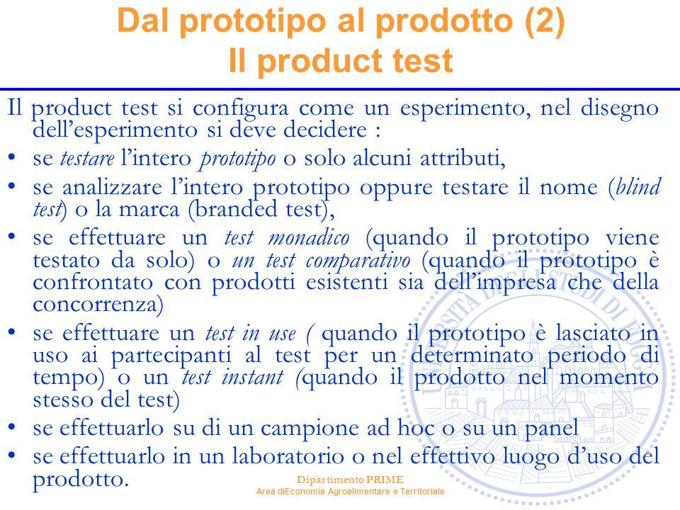 Dal prototipo al prodotto (2) Il product test
