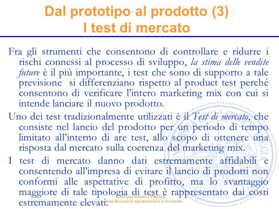 Dal prototipo al prodotto (3) I test di mercato
