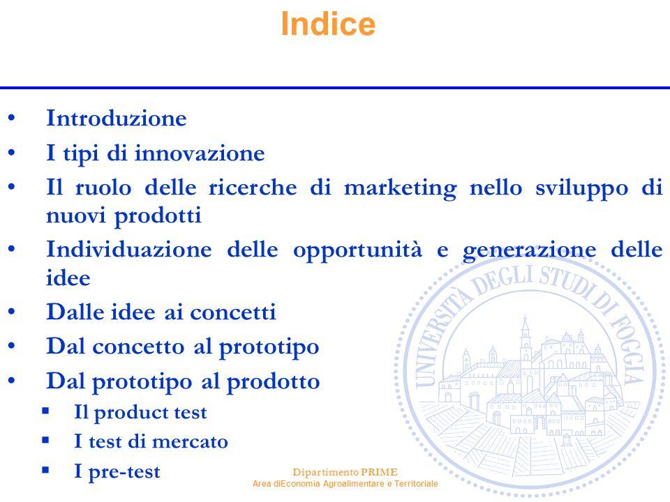 Indice Introduzione I tipi di innovazione