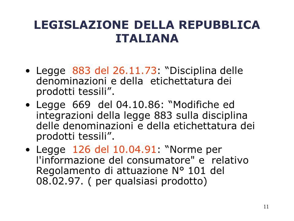 LEGISLAZIONE DELLA REPUBBLICA ITALIANA