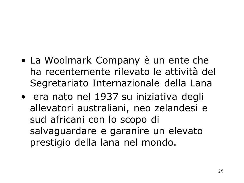 La Woolmark Company è un ente che ha recentemente rilevato le attività del Segretariato Internazionale della Lana
