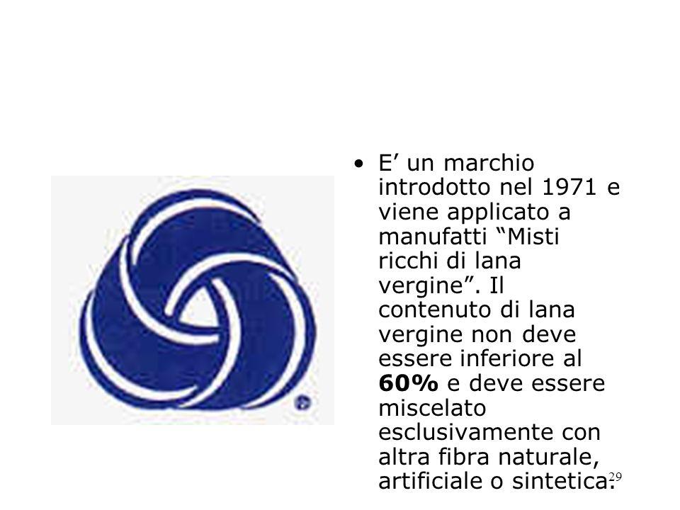 E' un marchio introdotto nel 1971 e viene applicato a manufatti Misti ricchi di lana vergine .