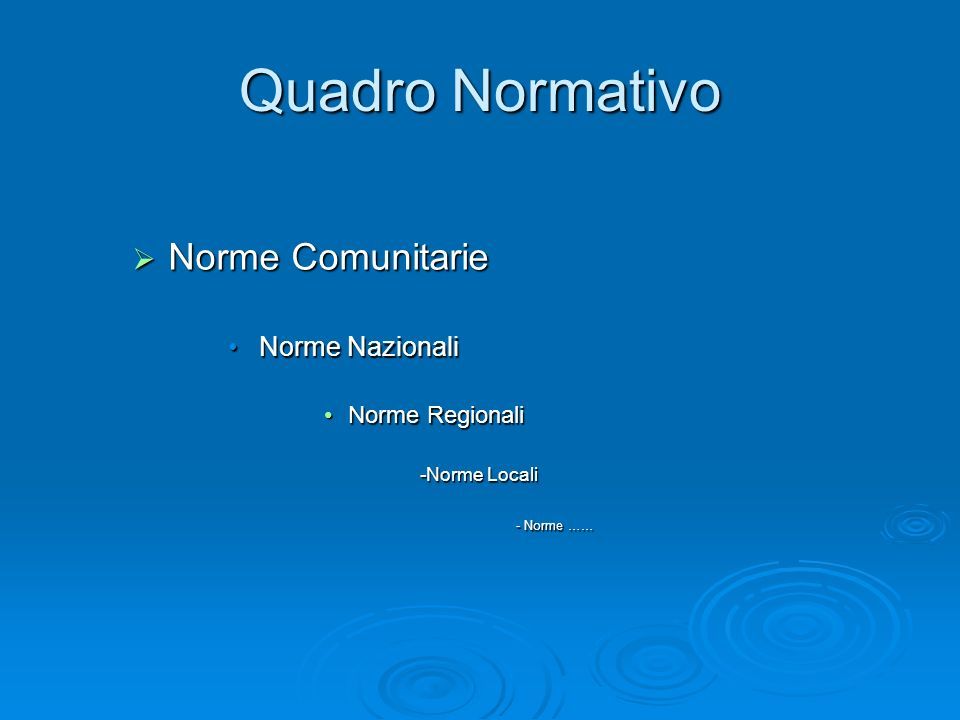Quadro Normativo Norme Comunitarie Norme Nazionali Norme Regionali