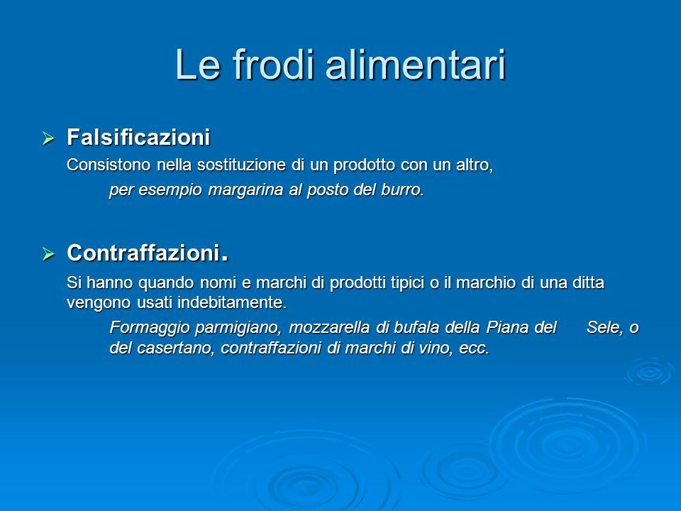 Le frodi alimentari Falsificazioni Contraffazioni.