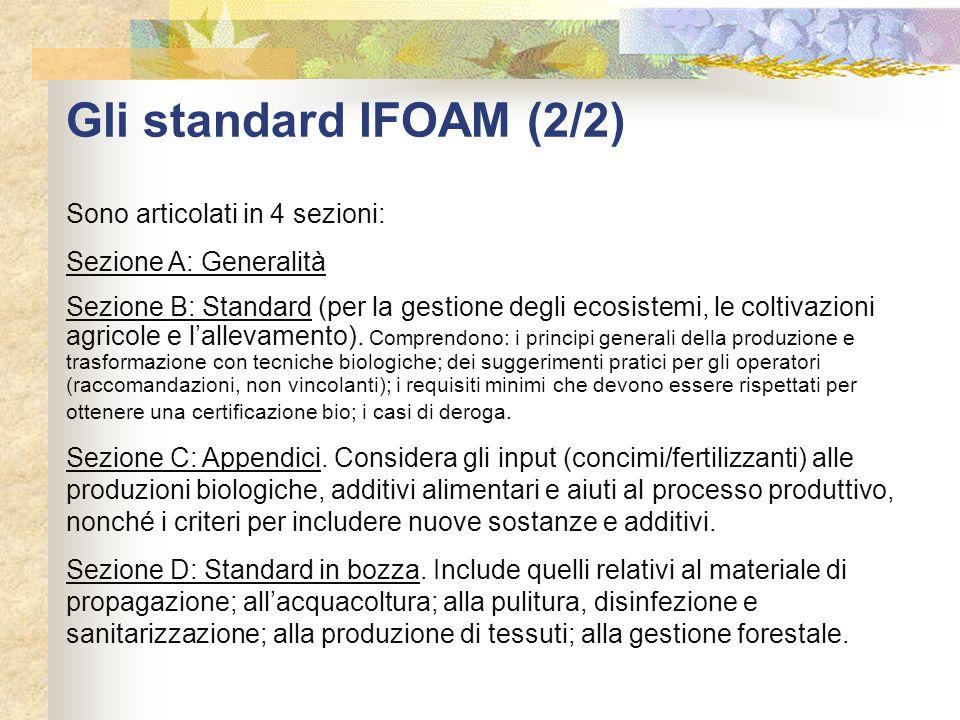 Gli standard IFOAM (2/2) Sono articolati in 4 sezioni: