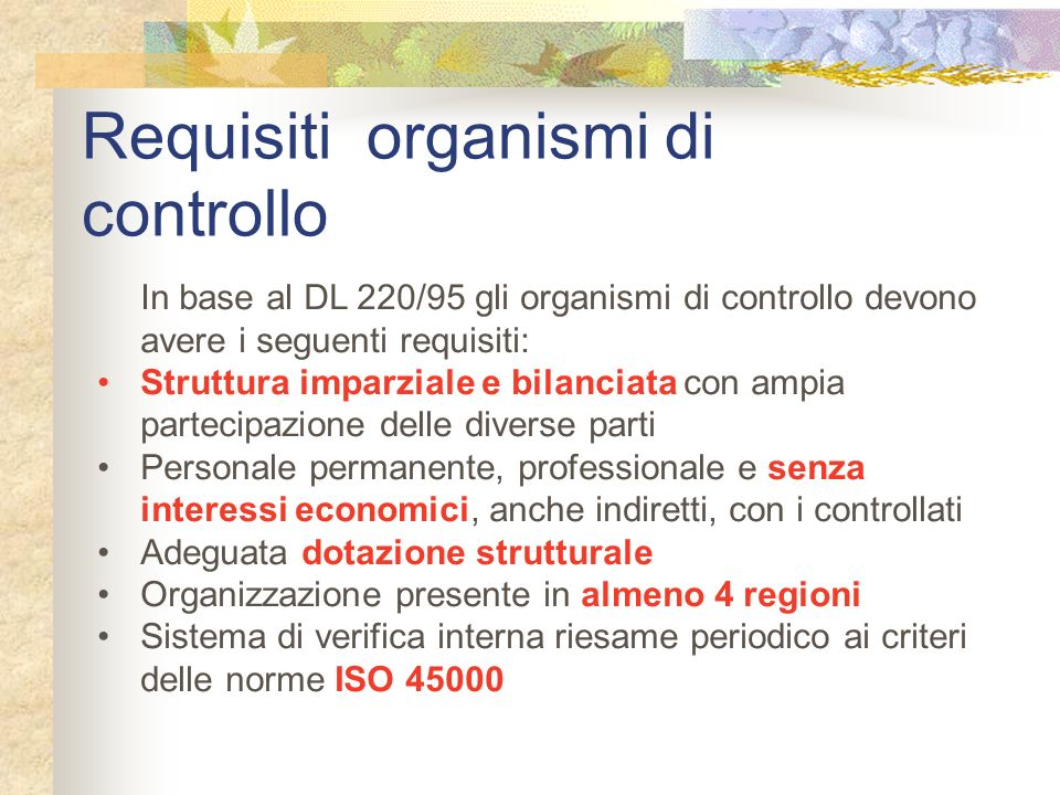 Requisiti organismi di controllo