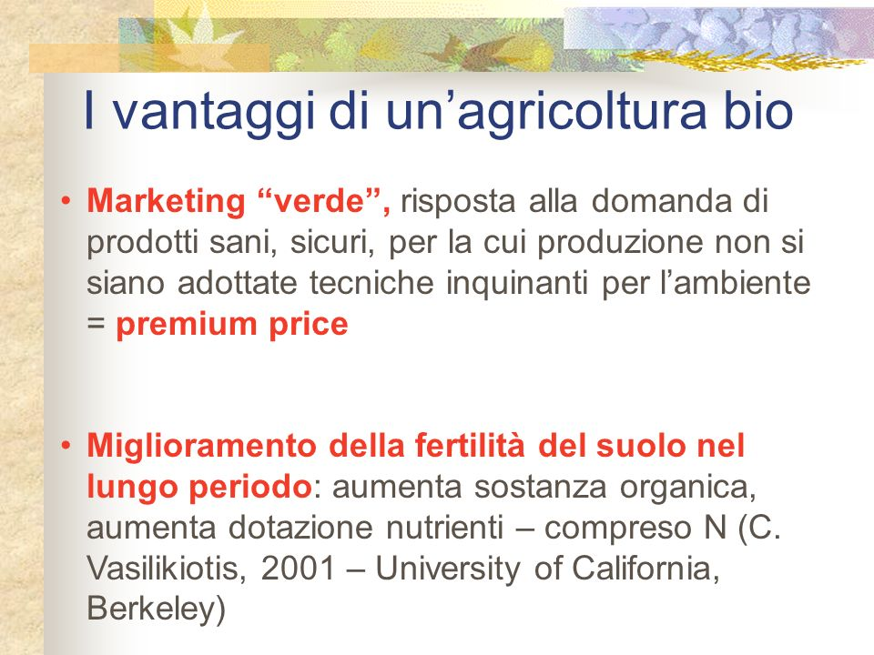I vantaggi di un'agricoltura bio