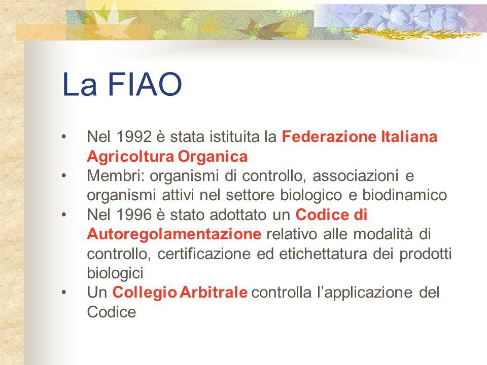 La FIAO Nel 1992 è stata istituita la Federazione Italiana Agricoltura Organica.