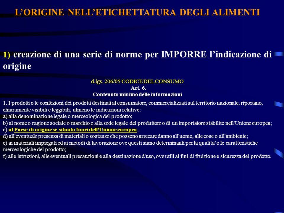 L'ORIGINE NELL'ETICHETTATURA DEGLI ALIMENTI