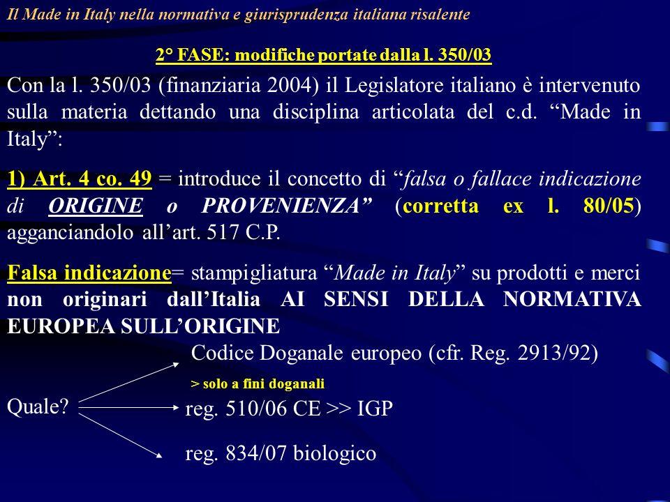 2° FASE: modifiche portate dalla l. 350/03