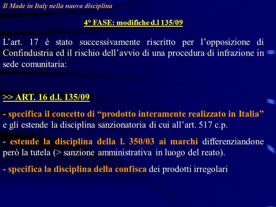 - specifica la disciplina della confisca dei prodotti irregolari