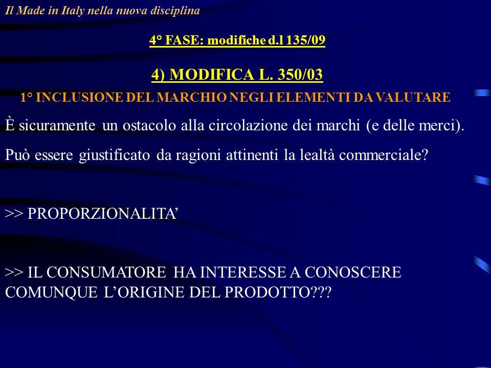 1° INCLUSIONE DEL MARCHIO NEGLI ELEMENTI DA VALUTARE