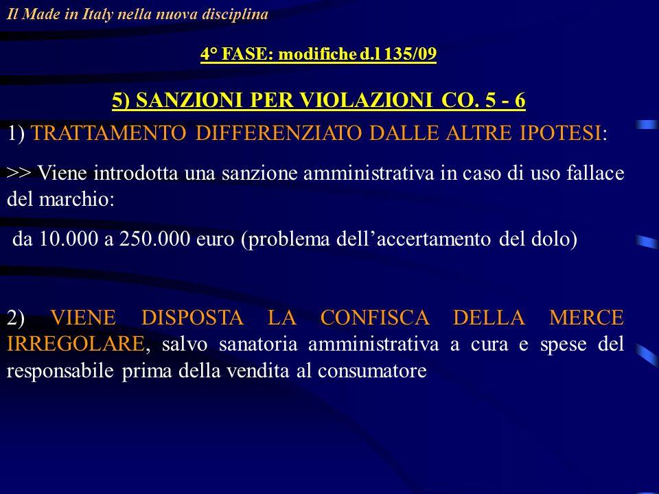 5) SANZIONI PER VIOLAZIONI CO. 5 - 6