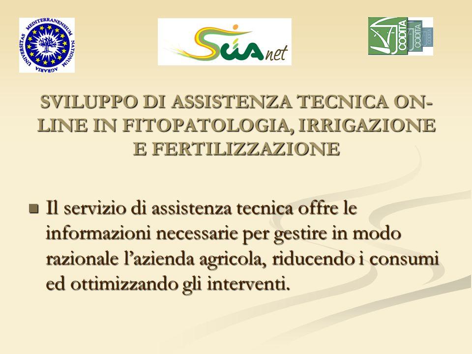 SVILUPPO DI ASSISTENZA TECNICA ON-LINE IN FITOPATOLOGIA, IRRIGAZIONE E FERTILIZZAZIONE