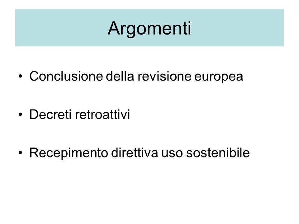 Argomenti Conclusione della revisione europea Decreti retroattivi