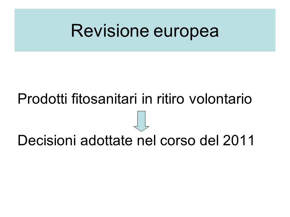 Revisione europea Prodotti fitosanitari in ritiro volontario