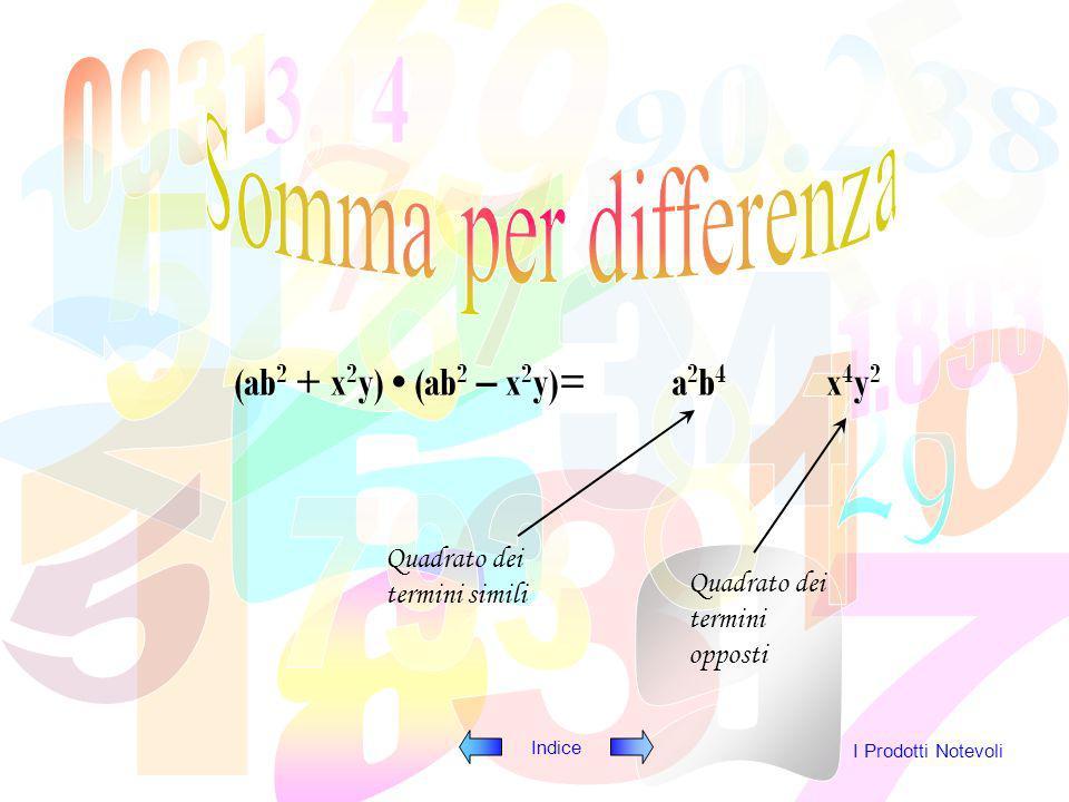 Somma per differenza (ab2 + x2y) • (ab2 – x2y)= a2b4 x4y2