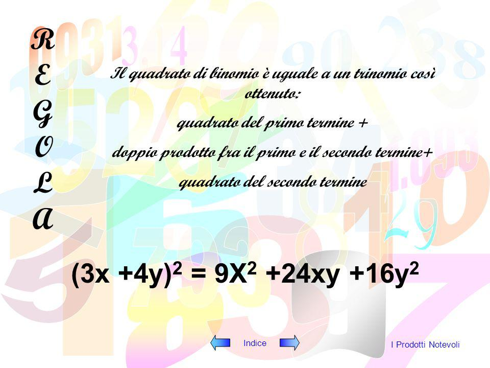 REGOLA Il quadrato di binomio è uguale a un trinomio così ottenuto: quadrato del primo termine + doppio prodotto fra il primo e il secondo termine+
