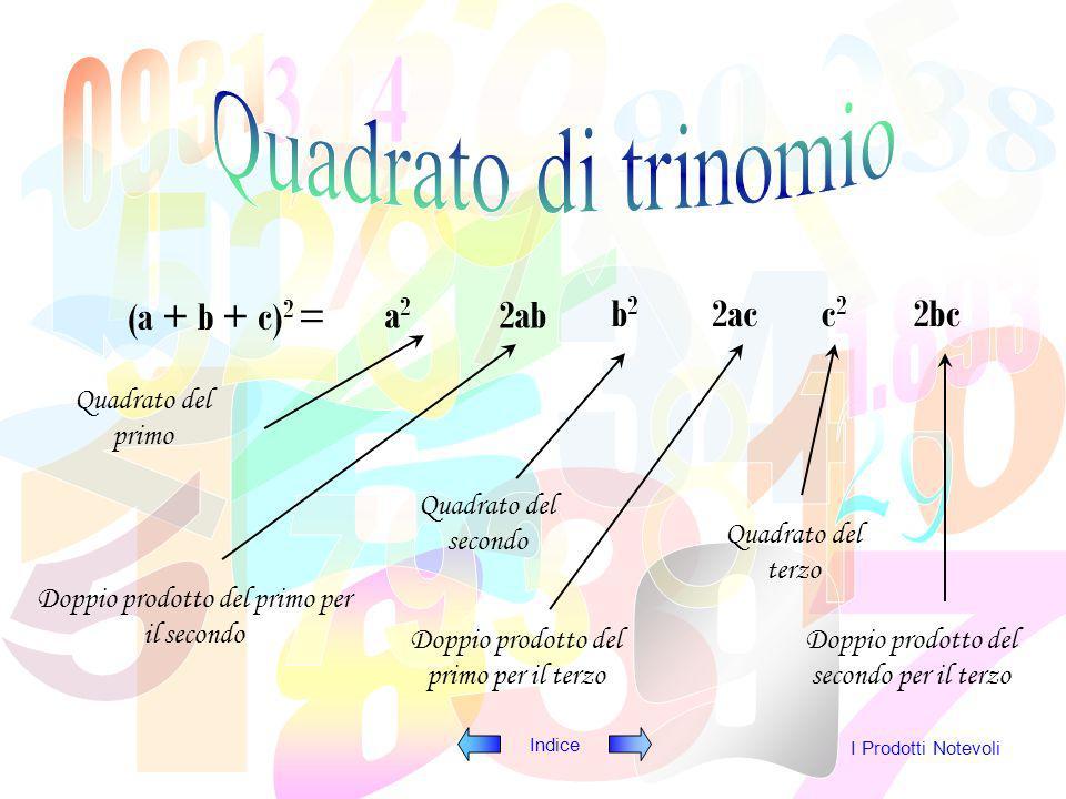 Quadrato di trinomio (a + b + c)2 = a2 2ab b2 2ac c2 2bc