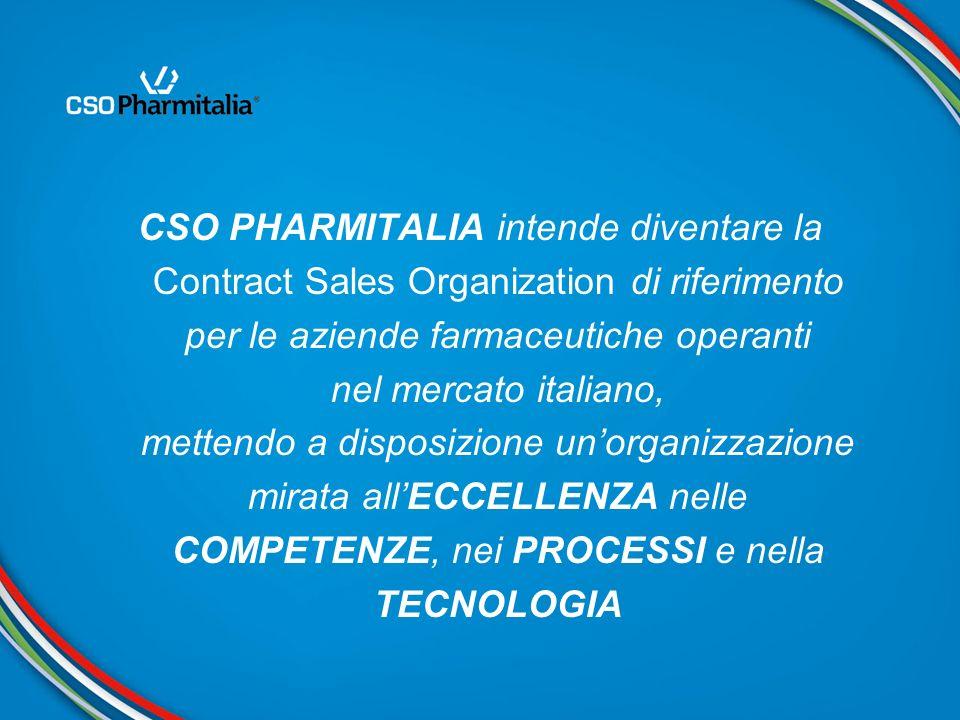 CSO PHARMITALIA intende diventare la Contract Sales Organization di riferimento per le aziende farmaceutiche operanti nel mercato italiano, mettendo a disposizione un'organizzazione mirata all'ECCELLENZA nelle COMPETENZE, nei PROCESSI e nella TECNOLOGIA