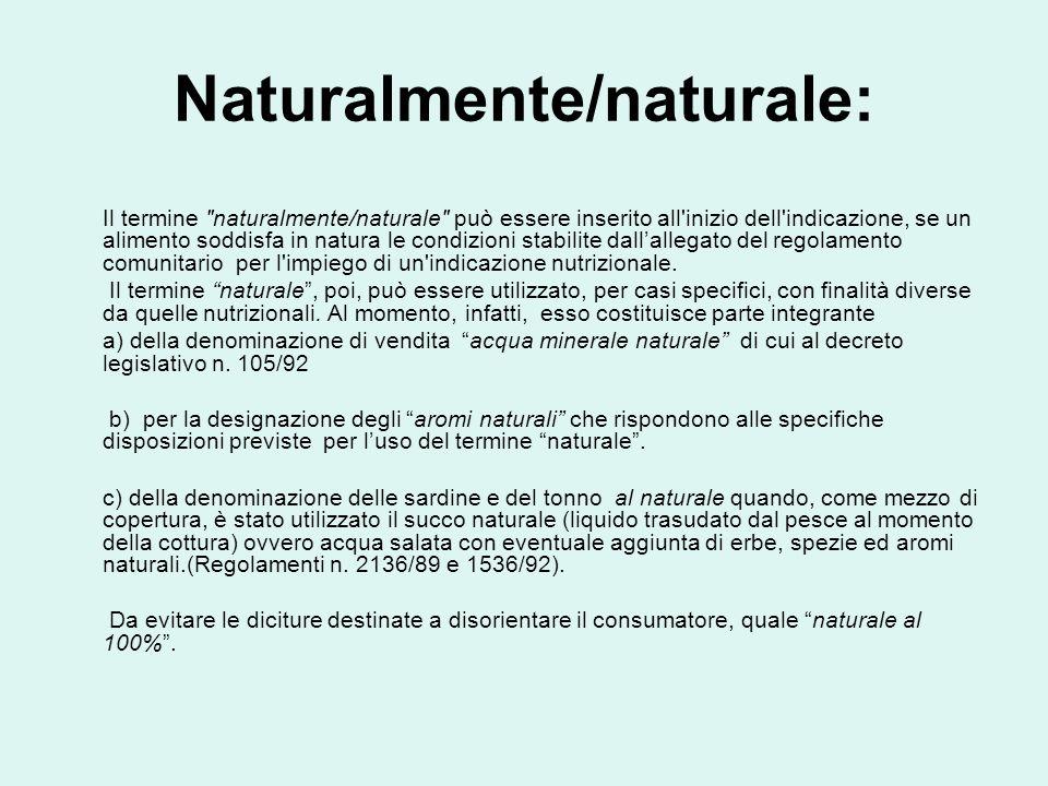 Naturalmente/naturale: