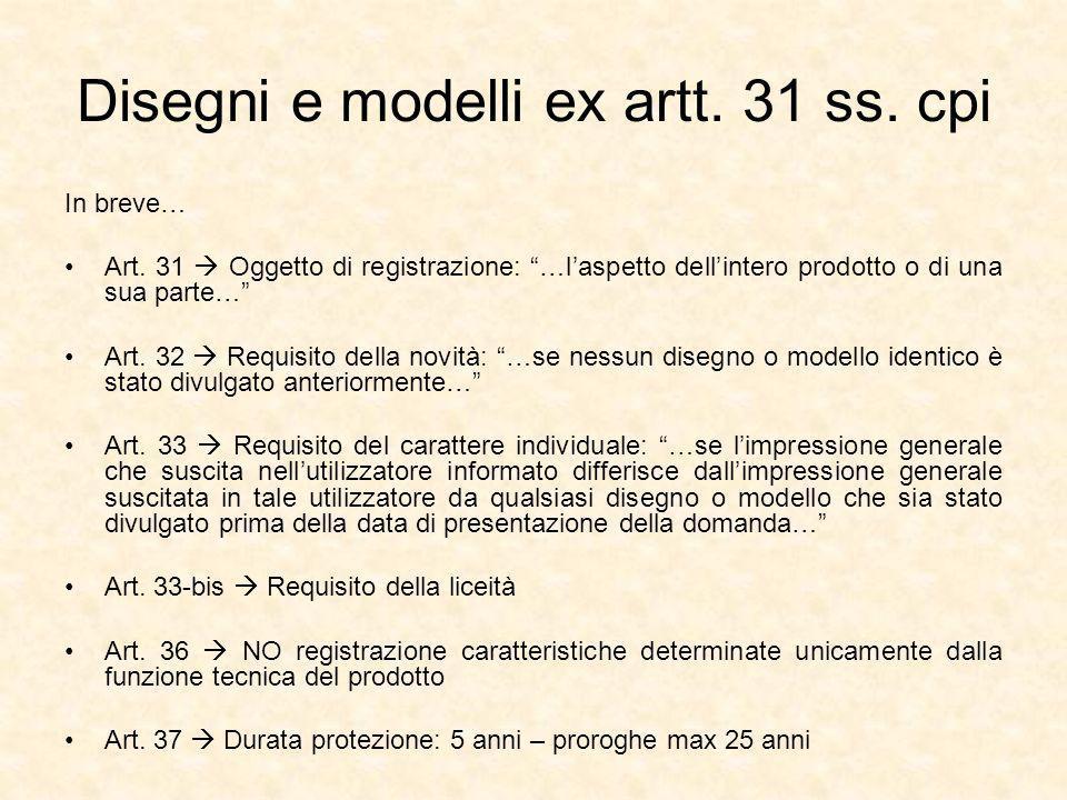 Disegni e modelli ex artt. 31 ss. cpi