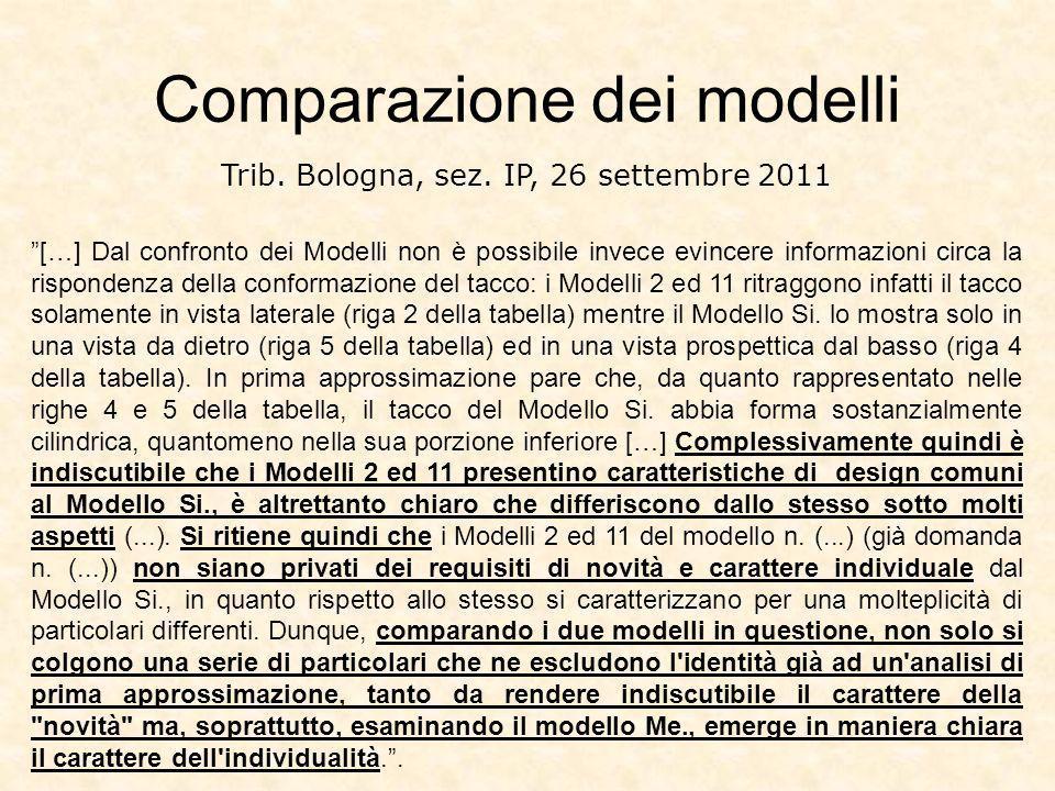 Comparazione dei modelli