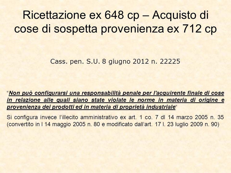 Ricettazione ex 648 cp – Acquisto di cose di sospetta provenienza ex 712 cp
