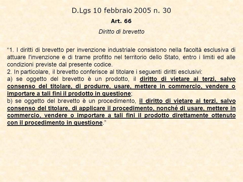 D.Lgs 10 febbraio 2005 n. 30 Diritto di brevetto