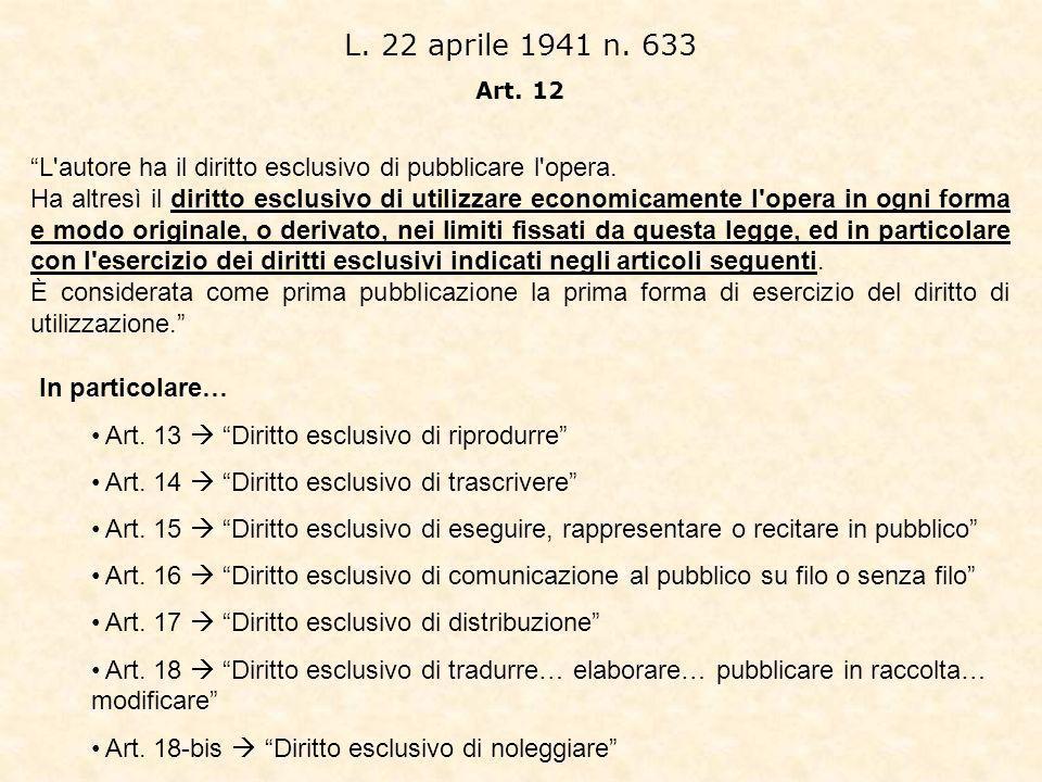 L. 22 aprile 1941 n. 633 Art. 12. L autore ha il diritto esclusivo di pubblicare l opera.