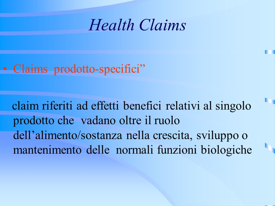 Health Claims Claims prodotto-specifici