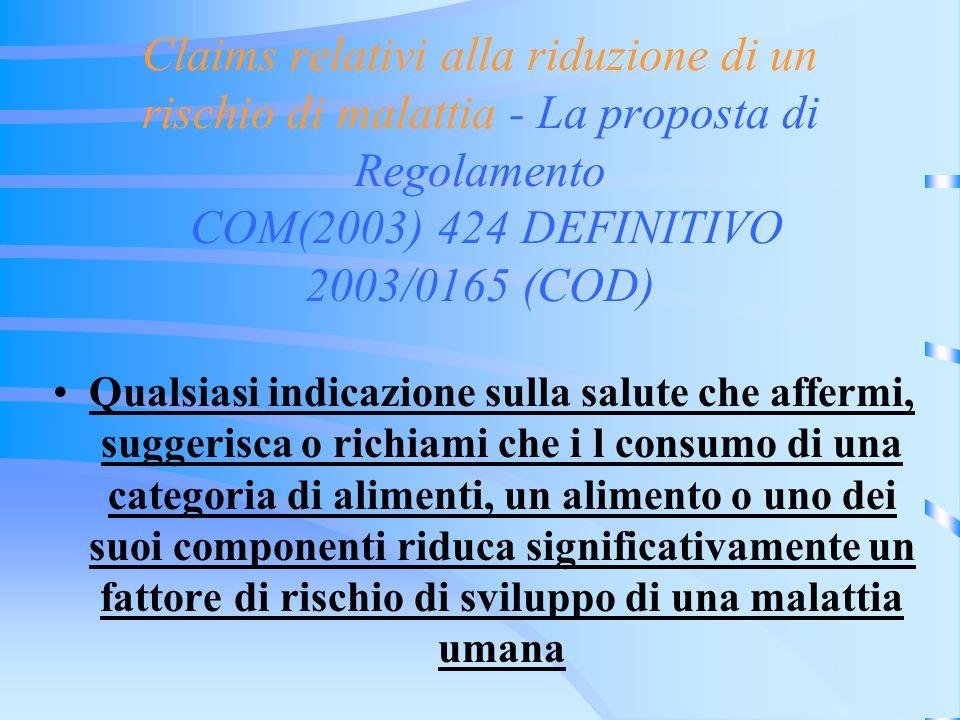 Claims relativi alla riduzione di un rischio di malattia - La proposta di Regolamento COM(2003) 424 DEFINITIVO 2003/0165 (COD)